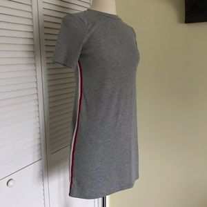 Ribbed Grey t shirt dress with side stripe